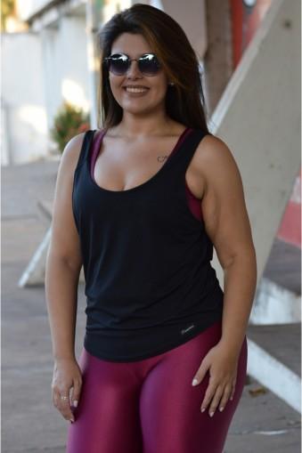 Regata fitness detalhe brilho Plus size-Preto