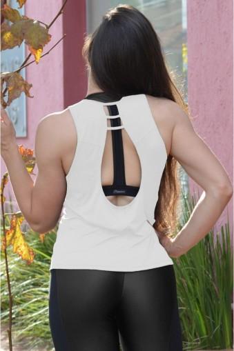 Regata fitness detalhe tirinhas-Branco