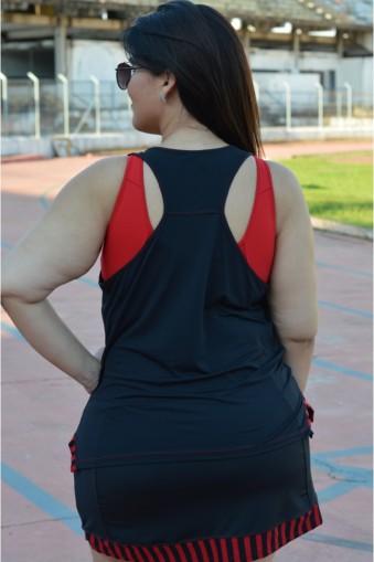 Regata fitness nadador Plus size-Preto/Vermelho
