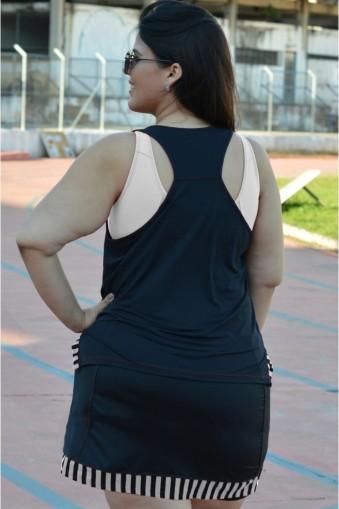Regata fitness nadador Plus size-Preto/Branco
