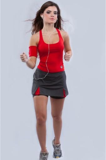 Saia short fitness com pregas-Cinza