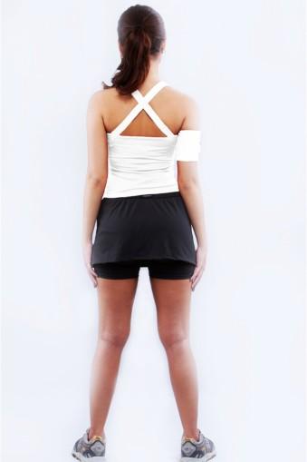 Saia short fitness com pregas-Preto