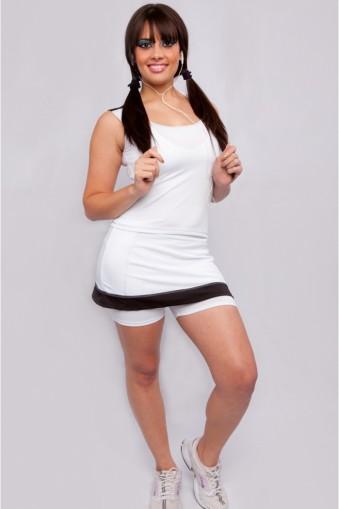Saia short fitness com recortes-Branco