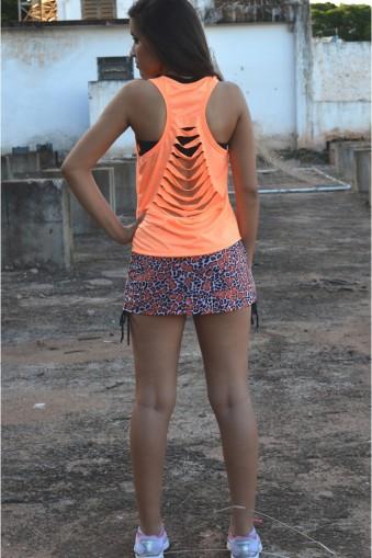 Saia short fitness estampada com lacinhos-Laranja
