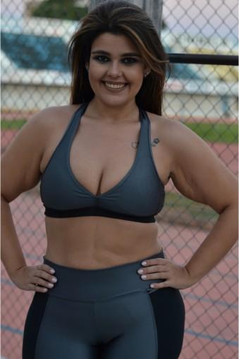 Top bojo nadador com brilho plus size-Cinza
