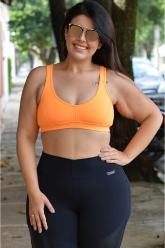 Top fitness com tirinhas plus size-Laranja flúor