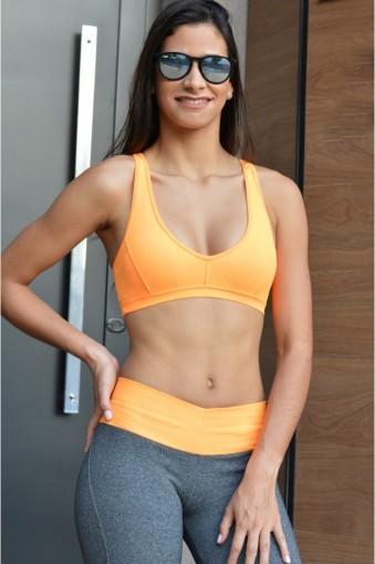 Top fitness alças cruzadas-Laranja Flúor