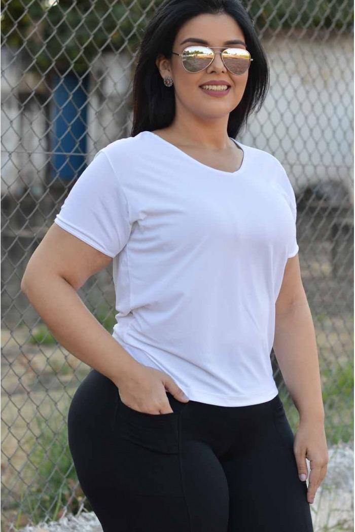 Blusa manga curta poliamida plus size-Branco