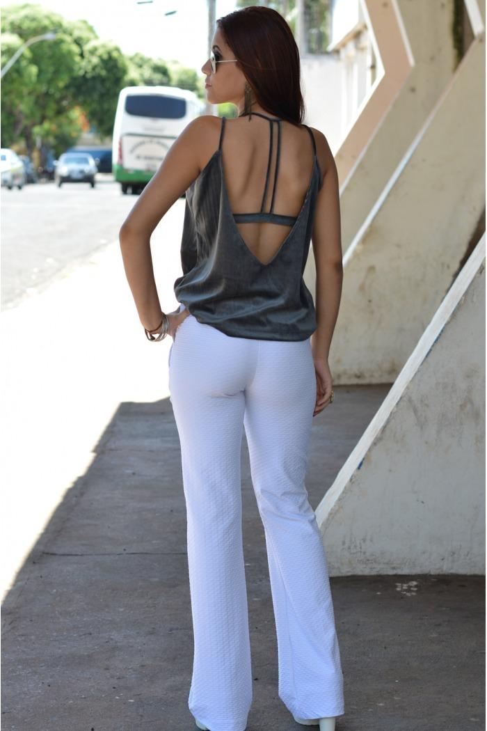 Calça flare jacquard-Branco