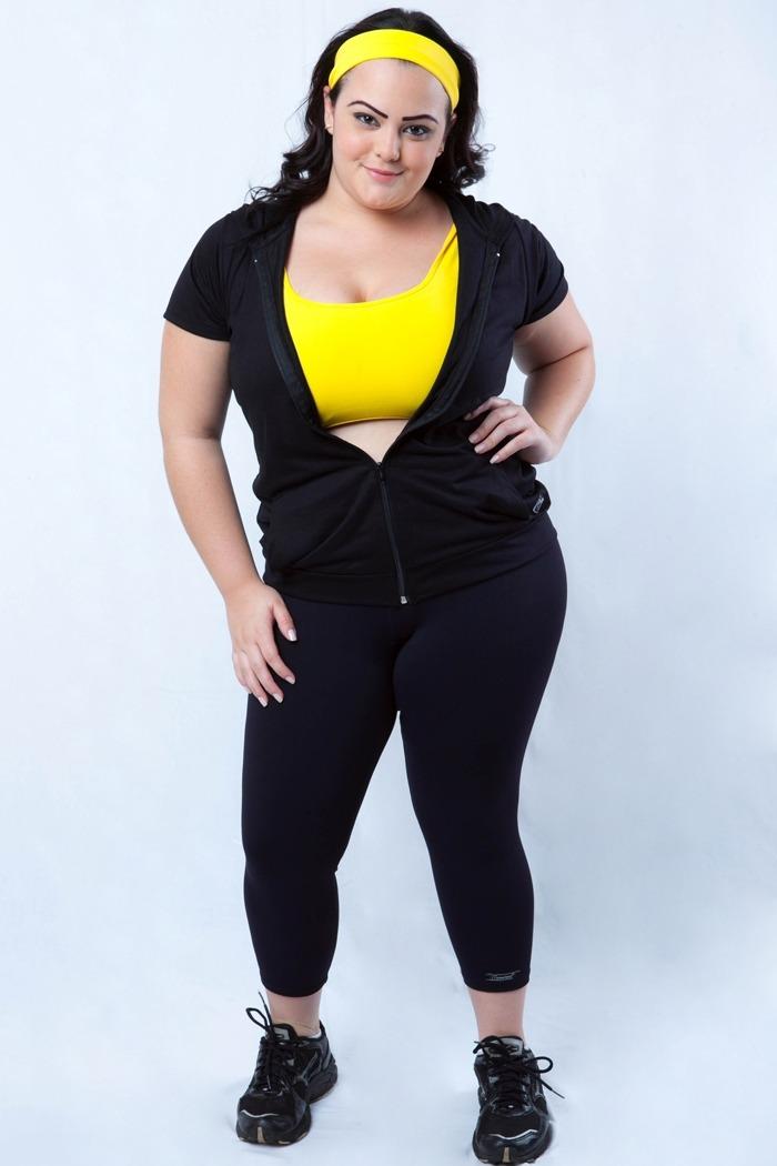 Legging fitness básica plus size-Preto