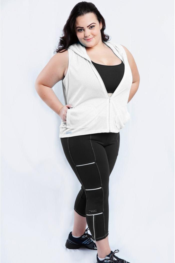 Legging fitness com zíper plus size-Preto