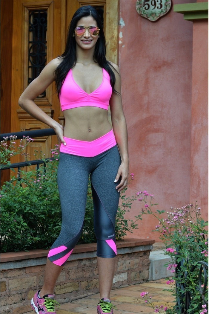 Legging fitness detalhe colorido-Cinza