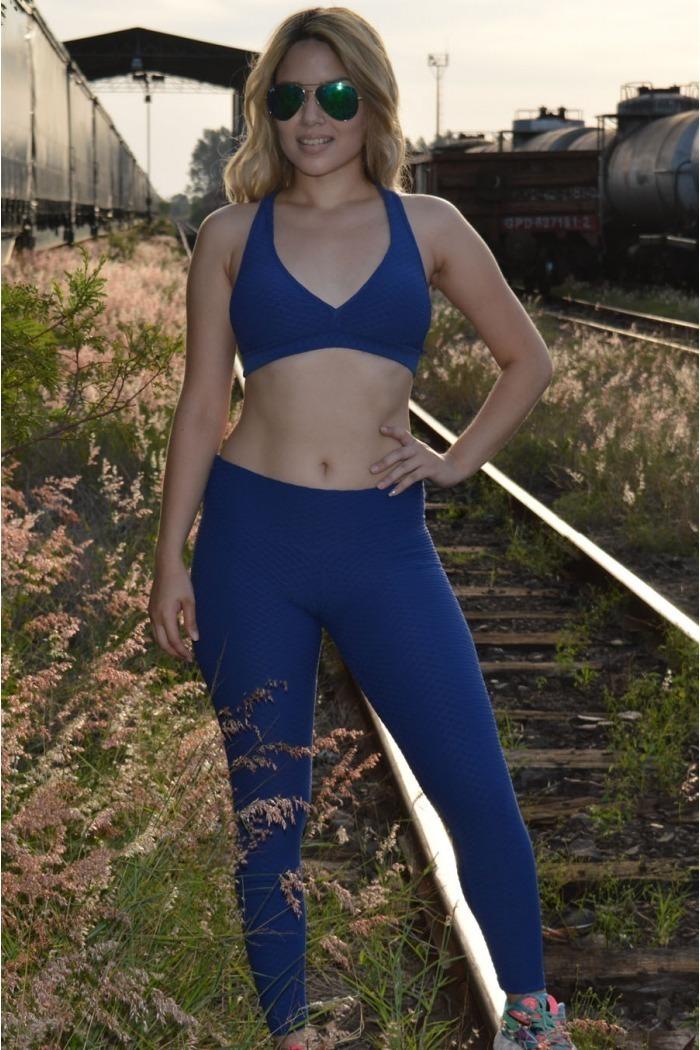 Legging fitness longa jacquard-Azul