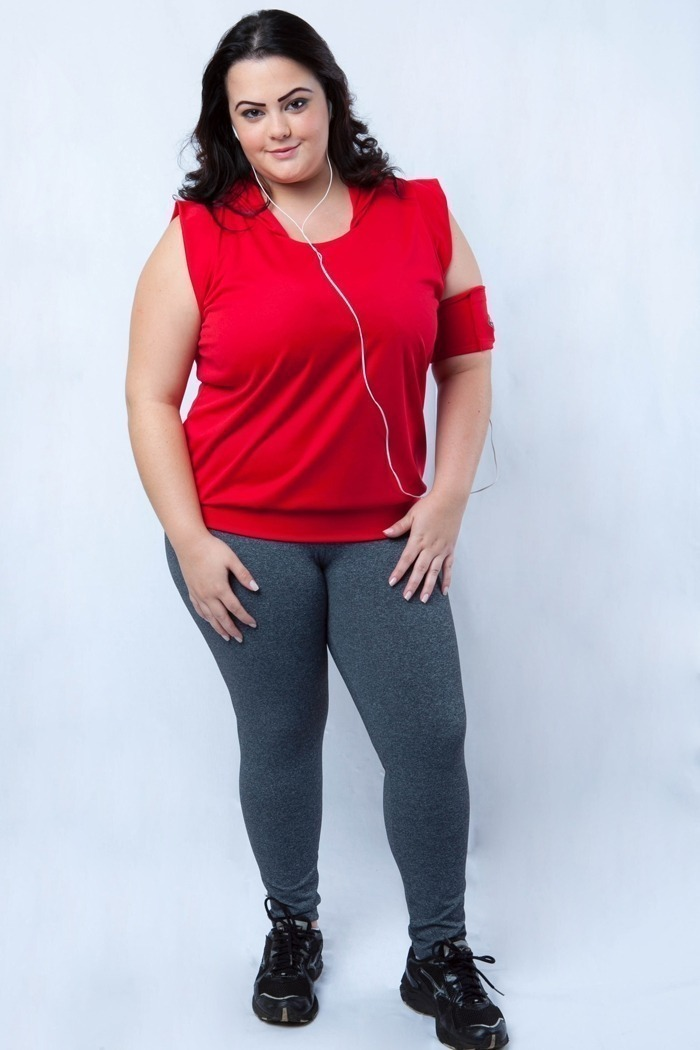 Legging fitness longa plus size-Cinza