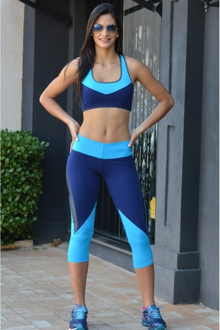 Legging fitness recortes colorido-Marinho