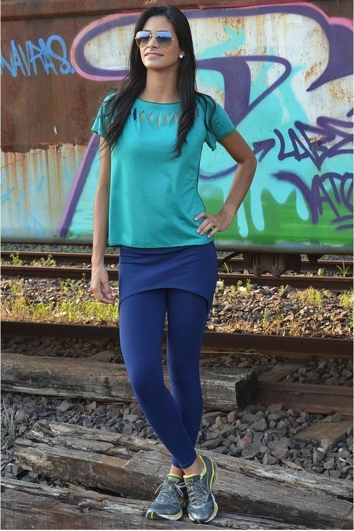 Legging  longa com saia-Marinho