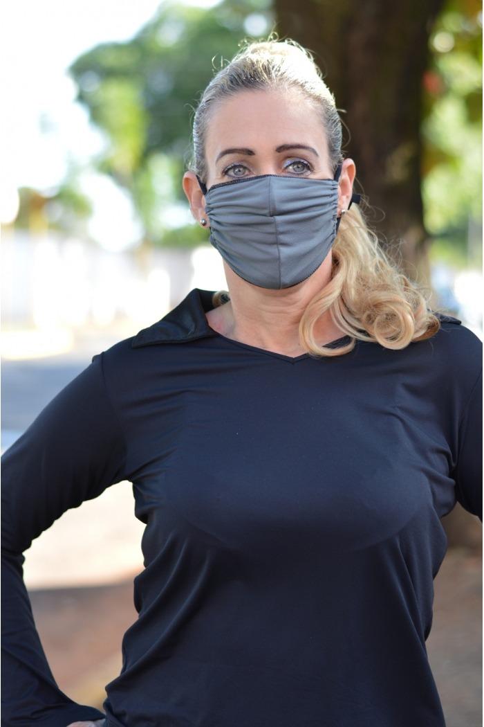 Máscara Adulto em Poliamida Lavável  dupla proteção-cinza/preto