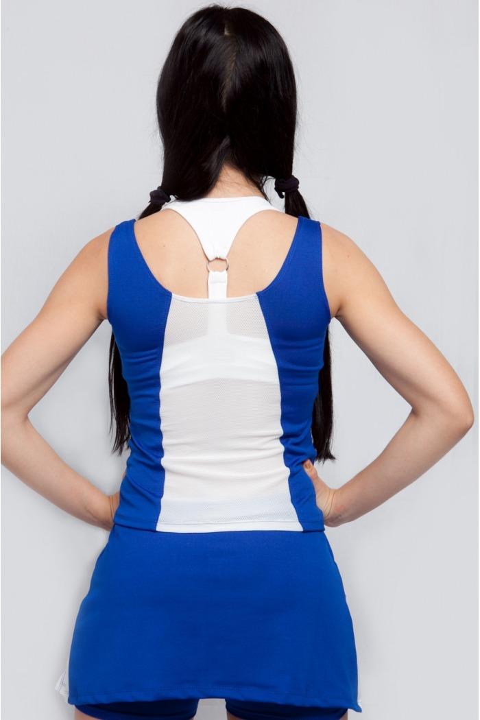 Regata fitness com recorte em tela-Azul