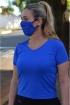 Máscara Adulto em Poliamida Lavável  dupla proteção-azul/preto