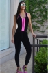 Macacão fitness nadador com tirinhas-Preto e Pink