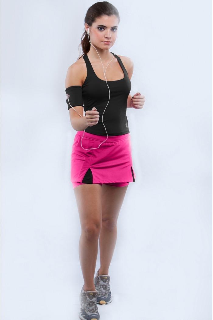 Saia short fitness com pregas-Pink