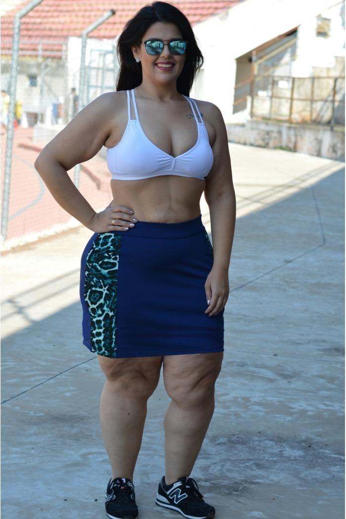 Saia short plus size com recortes animal print-Marinho