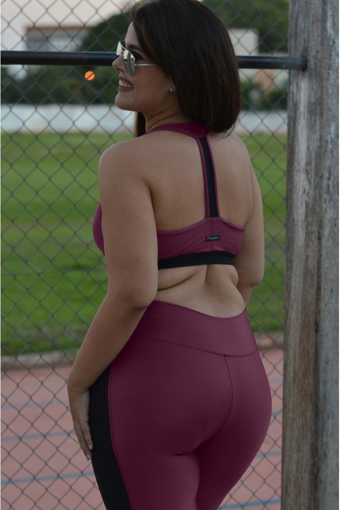Top bojo nadador com brilho plus size-Marsala
